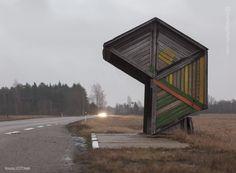 Parada de ônibus em Kootsi, na Estônia (Foto: Reprodução)
