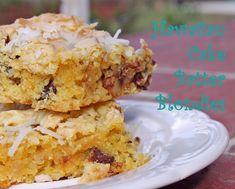 Hawaiian Cake Batter Blondies- ooey gooey coconut blondies with chocolate chips and pecans.  Sooooo good!