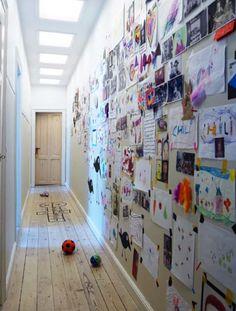 Wall of children's artwork Childrens Artwork, Kids Artwork, Decoration Bedroom, Wall Decor, Hallway Art, Hallway Ideas, Kids Decor, Home Decor, Home And Deco