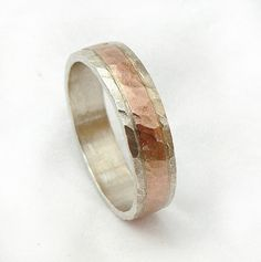 Hammered sterling silver and gold wedding ring for men, Handmade ring, unisex ring sterling and red gold- ilan amir