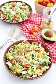 Summer Zucchini Noodle Salad Recipe on twopeasandtheirpod.com This simple, fresh, and healthy salad is fun to make and fun to eat!