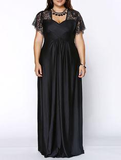 Stylish Plus Size Lace Panelled Sweetheart Neckline Dress For Women