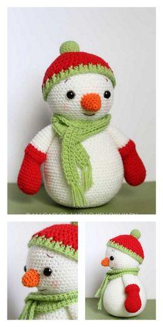 Christmas Yarn Wreaths, Crochet Christmas Decorations, Crochet Christmas Ornaments, Christmas Crochet Patterns, Holiday Crochet, Christmas Snowman, Crochet Teddy Bear Pattern, Crochet Amigurumi Free Patterns, Crochet Dolls