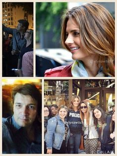 stana katic and nathan fillion with fans