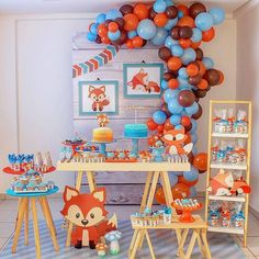 19 super Ideas for decor ideas party simple Fox Party, Baby Party, Boy First Birthday, 1st Birthday Parties, Orange Et Turquoise, Shower Bebe, Woodland Party, Baby Shower Themes, Circumcision