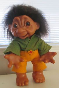 "EXTRAORDINARY RARE 20"" Dam Troll. STORE DISPLAY. Very RARE Model.  Seller was informed directly from the Dam Troll Co. that ""Do you know, it's a very rare model, only made a few hundred pieces. This model was made for store display but he was so difficult to get out of the mold, the production stopped. Signed by Soeren Petersen.""  His foot is marked # 800. He is marked on back ""Made in Denmark Thomas Dam 1977."""