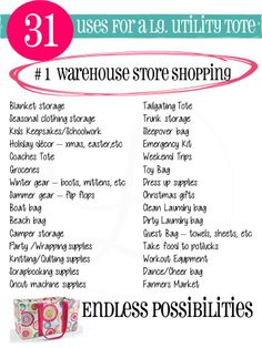 31 USES for large utility tote