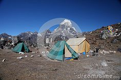 Taboche peak (6,367m) seen from Ama dablam base cmap in Khumbu himal,Nepal