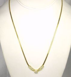 """A fabulous #vintage #necklace with #rhinestones and a faux opal.  This necklace is composed of a fine herringbone style chain made of gold tone metal which connects to a """"V"""" s... #judysgems2 #glass #gift #woj #traditional #womens #sale"""