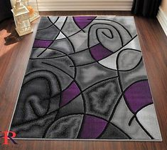Purple/Grey/Silver/Black/Abstract Area Rug Modern Contemporary Circles and Wavey Swirlls Design Pattern Room Carpet, Rugs On Carpet, Carpets, Purple Table Lamp, Black And Grey Bedroom, Purple Furniture, Living Room Decor On A Budget, Area Rugs For Sale, Purple Area Rugs