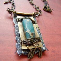 Mixed media fiber/fabric jewelry - LOVE these