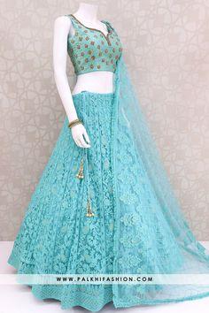 Gorgeous Deep Turquoise Lakhnavi Work Lehenga Set - Source by aniavis - Party Wear Indian Dresses, Designer Party Wear Dresses, Indian Bridal Outfits, Indian Gowns Dresses, Dress Indian Style, Indian Designer Outfits, Pakistani Dresses, Lehenga Gown, Lehnga Dress