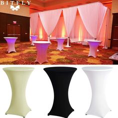 Spandex Lycra Cover Tablecloth For 4 Leg 60cm Poseur Cocktail Bar Table Wedding Party Event Decorations. For 60cm Diameter Top Poseur. 1/10 pcs Lycra Covers. We will try our best to reduce the risk of the custom duties.   eBay!