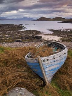 Sunset, Old Blue Fishing Boat, Inverasdale, Loch Ewe, Wester Ross, North West Scotland