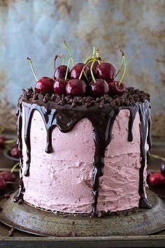 Fresh Cherry Cake with Chocolate Ganache   The First Year