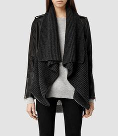 Womens Wrap Leather Biker Jacket (Black/Charcoal) - product_image_alt_text_1