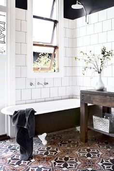 Patterned Tile Whether it's in your bathroom or kitchen or on your fireplace mantle, patterned Moroccan tile doesn't seem to be going anywhere. You guys proved this to be true, by making this bathroom snap a top fave.