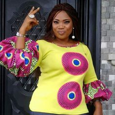 Online Hub For Fashion Beauty And Health: Fabulously Stylish Blouse For The Beautifully Big And Bold Divas African Wear Dresses, African Fashion Ankara, Latest African Fashion Dresses, African Attire, Nigerian Fashion, African Blouses, African Tops, Ivanka Trump, Ankara Skirt And Blouse