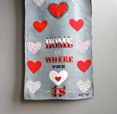 Tammis Keefe Linen Towel Home Is Where the by BarkingSandsVintage, $40.00