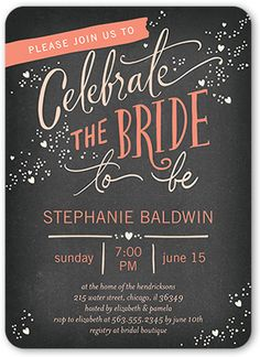 Bridal Shower Invitation: Chic Celebration, Rounded Corners, Grey