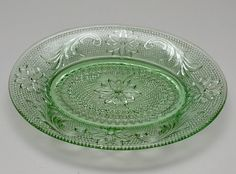 Vintage Sandwich, Indiana Glass Early American #170, Depression Green, Snack Plate with Indent, 1920's or 1980's by GBCsLegacies on Etsy