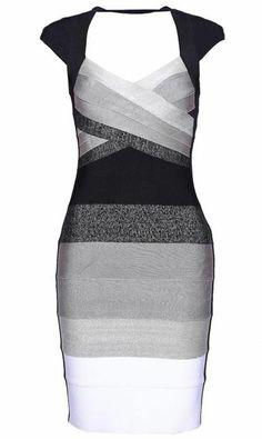 Ombre Open-Back Bandage Dress
