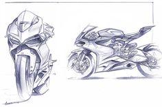 Ducati 1199 Design Sketch Pencil Black and White by Ducati Designer Gianandrea Fabbro