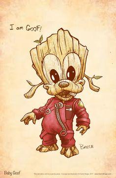 Darrin Brege Art — I am Goof….baby Goof, that is. Here's a quick. Goofy Disney, Disney Marvel, Disney Fan Art, Marvel Characters, Marvel Movies, Cartoon Characters, Disney Kunst, Disney Tattoos, Cute Cartoon Wallpapers