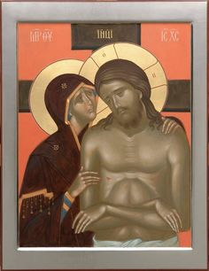 painted orthodox icon weep not for me o mother Religious Images, Religious Icons, Religious Art, Byzantine Icons, Byzantine Art, Mary Magdalene And Jesus, Writing Icon, Christ Tattoo, Our Lady Of Sorrows