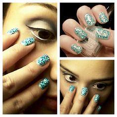 ☆Blue leopard #Nails 💅☆#manicure #nailart #nailstylists #blueleopardnails #santeenailpolish #santeecosmetics #santee #santeeusa #santeebluepolish #nailartbyhand