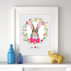Personalised Child's Bunny Rabbit Print.