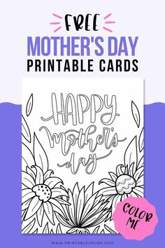 Free Mother's Day Printable Coloring Cards - Free Coloring Page for Mother's Day - Mother's Day Cards - Printable Crush Diy Gifts For Mothers, Diy Gifts For Kids, Mothers Day Crafts, Alphabet Coloring Pages, Free Coloring Pages, Printable Coloring, Printable Designs, Printable Cards, Free Printables