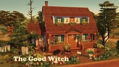 """isegrimsims: """" ♥ This little home is made for witches :) ♥ If you are still having problems with the columns showing through the roof (it's a bug I still experience) just place one single wall. Sims 4 House Plans, Sims 4 House Building, Sims 4 House Design, Pintura Exterior, Casas The Sims 4, Sims 4 Build, Sims 4 Mods, Sims 4 Custom Content, House Layouts"""