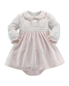 Colorblock Combo Dress & Bloomer, Antique Cream, 3-12 Months