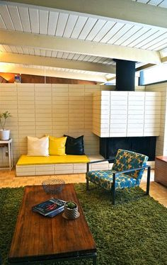 """The living room of an Eichler home. Eichler homes are classified as """"atomic modern"""" homes and are prominent in both Northern and Southern California."""