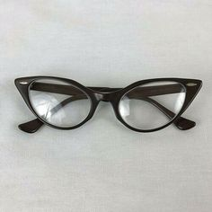 a3b51581fa5 Details about Vintage Bausch Lomb Eyeglasses Cats Eye Rims 15.5 Brown 50 s  Catseye