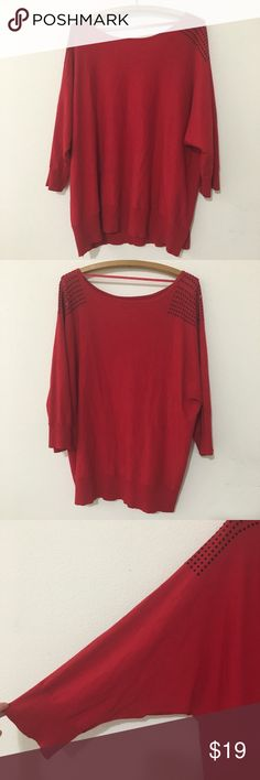 """Cable & Gauge Woman Red Studded Sweater 3X Cable & Gauge Woman Red Studded Sweater. Red sweater with black jeweled studs on shoulders. Would make a great sweater for the holidays. Super soft!    Size: 3X About 31"""" length (top shoulder hem to bottom)   Good Preloved condition.   Bundle fav items for a personal discount. Offers are always welcome, too! No trades. Thank you! (42)   Tags: on trend, trendy, dressy, cute, girly, work, office, christmas, new years, thanksgiving, fall, holiday Cable…"""
