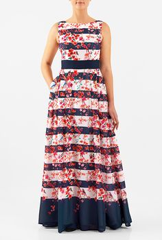 I <3 this Floral stripe print georgette maxi dress from eShakti