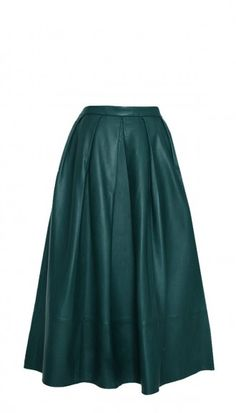 Emerald green provides a pop of color just in time for spring. Leather Full Skirt.