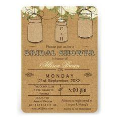 Burlap , mason jars, rustic bridal shower Invites from @Zazzle Inc.  #wedding #bridalshower #masonjars