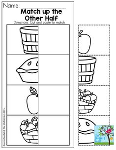 september Match the other half! A simple activity that can be a one-time activity or laminated and put in a basket in the classroom for multiple children to take turns with! Fall Preschool, Preschool Worksheets, Preschool Classroom, Preschool Learning, Early Learning, Classroom Activities, In Kindergarten, Teaching, Apple Activities