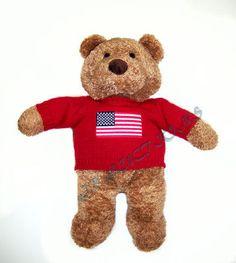 SAKS MCRAES 2001 Commonwealth Teddy Bear American Flag USA Stuffed Lovey Plush