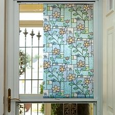 Embossed Stained Glass Flowers Privacy Film