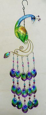 Peacock Wind Chime Sun Catcher Metal Fused Glass and Beads 31"