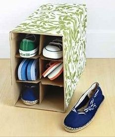 Wine Box Shoe Storage and Oranizer All Time Favorite New Uses for Old Things) : Real Simple Shoe Holders, Ideias Diy, New Uses, Shoe Storage, Diy Storage, Creative Storage, Shoe Cubby, Storage Ideas, Shoe Racks