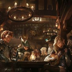 Inn Of Heroes By woo chul lee  #Fantasy #Medieval #Inn #Bar #ConceptArt #GameArt #Illustration #Drawing #Digital #Magic #Art