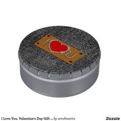 I lOVE YOU. Black Denim Design tins Valentine's Day Gift Jelly Belly™ Candy for him. Matching greeting cards, postage stamps and other products available in the Holidays / Valentine's Day Category of the artofmairin store at zazzle.com