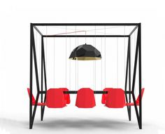 The Duffy London Swing Table Set is a unique and highly interesting piece of furniture. This swing table is suitable for both office and home use, and can be installed indoors or outdoors. The swing set is a self contained unit with each chair swinging independently.