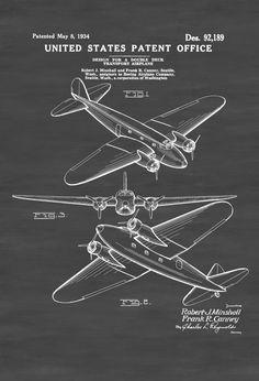 Boeing 247 Patent - Airplane Blueprint Pilot Gift Airplane Poster Vintage Aviation Art Airplane Art Boeing Patent Airliner Patent by PatentsAsPrints