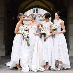 Gorgeous White Lace Mismatched Styles Hi Lo Pretty Long Bridesmaid Dresses for Wedding Party, WG199 The long bridesmaid dresses are fully lined, 4 bones in the bodice, chest pad in the bust, lace up b